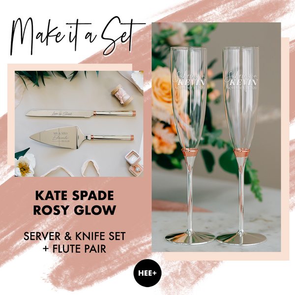 Kate Spade Rosy Glow Wedding Toasting Flute & Cake Server Set Package