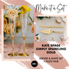 Kate Spade Simply Sparkling Gold Wedding Toasting Flute & Cake Server Set Package