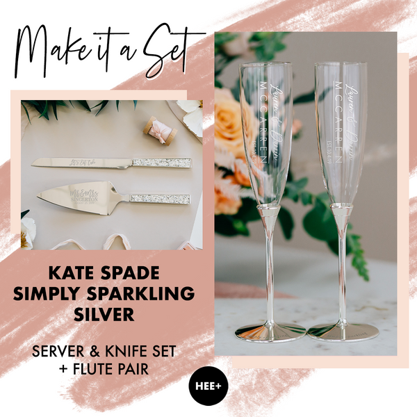 Kate Spade Simply Sparkling Silver Wedding Toasting Flute & Cake Server Set Package