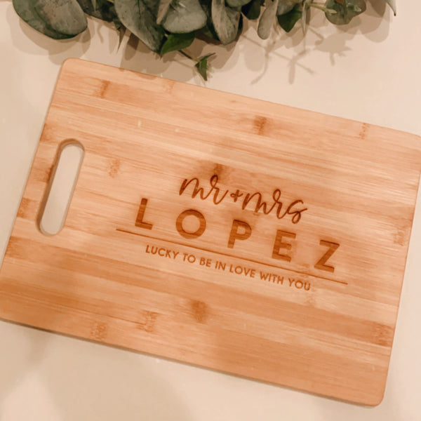 Lucky in Love Custom Engraved Rectangle Bamboo Cutting Board
