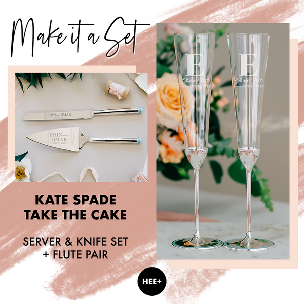 Kate Spade Take The Cake Toasting Flute & Cake Server Set Package