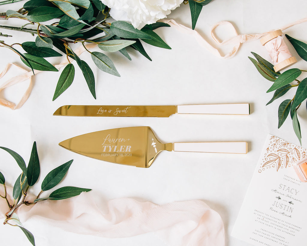 Kate Spade Two Hearts Pink & Gold Wedding Cake Knife and Server Set
