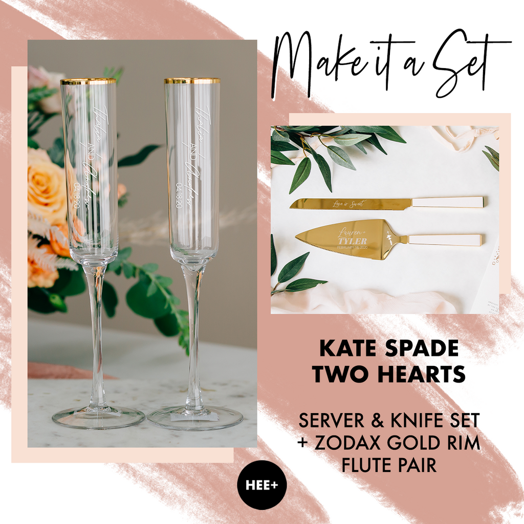 Modern Gold Rim Toasting Flutes & Kate Spade Two Hearts Cake Server Set Package