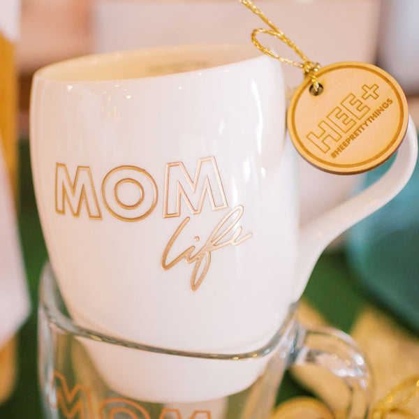 Mom Life Coffee Mug, Engraved White Porcelain
