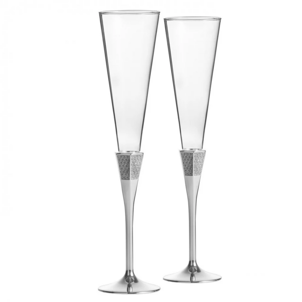 Waterford Lismore Diamond Silver Champagne Glasses