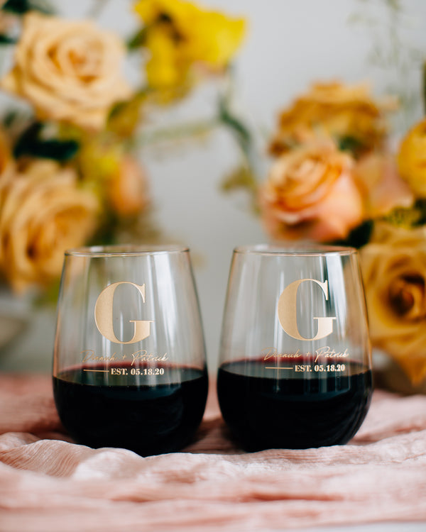 Custom Engraved Wedding Stemless Wine Glass Pair