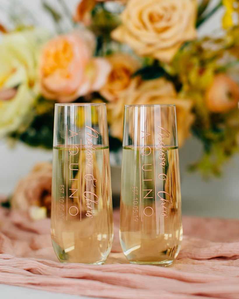 Custom Engraved Wedding Toast Stemless Flute Pair, Stemless Champagne Glass