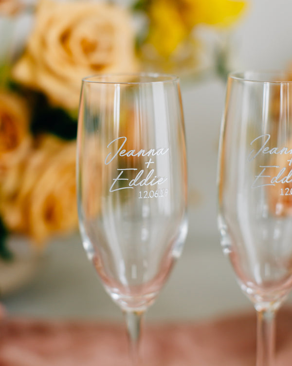 Custom Engraved Wedding Toasting Flute Pair, Vina Champagne Glass