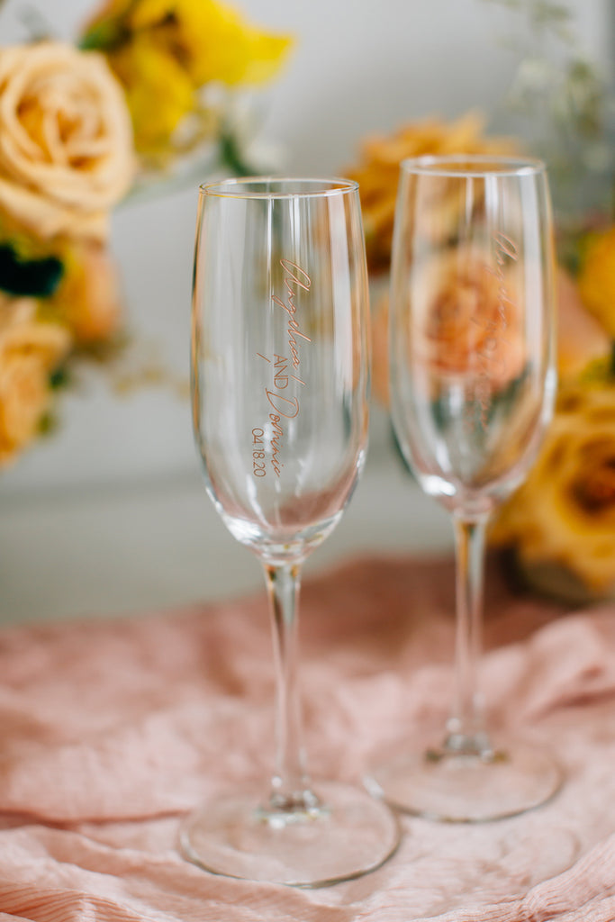 692512d822b2 Custom Engraved Wedding Toasting Flute Pair, Vina Champagne Glass – Happily  Ever Etched