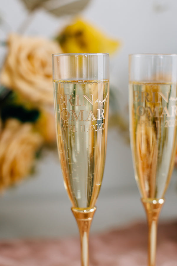 Kate Spade Simply Sparkling Gold Champagne Flutes