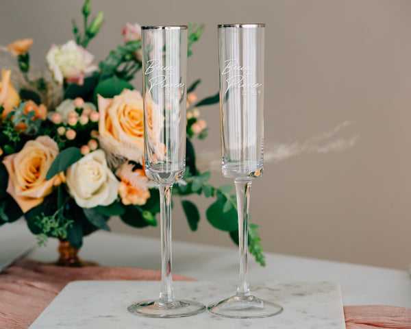 Custom Engraved Modern Silver Rim Toasting Flute Pair, Zodax