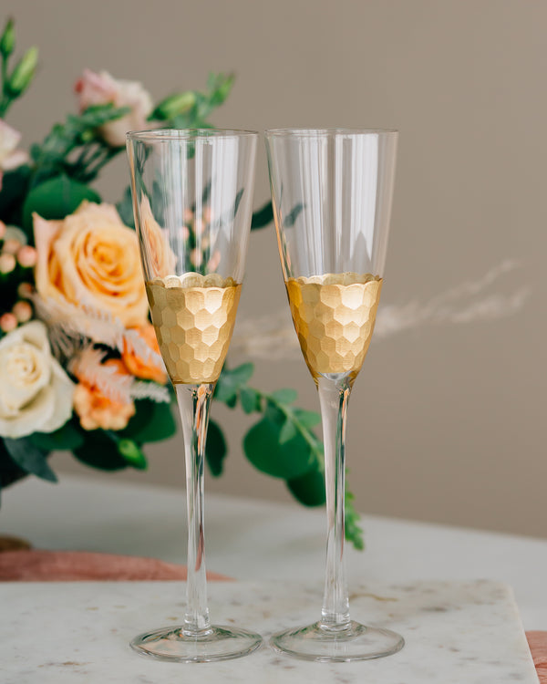 Custom Engraved Gold Leaf Toasting Flute Pair