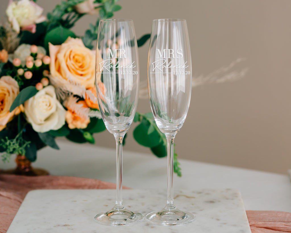 Lenox Tuscany Personalized Crystal Champagne Flute Pair