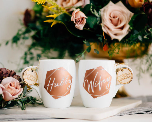 Geometric Wifey & Hubby Coffee Mug Set, Engraved White Porcelain