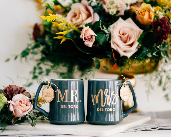 Custom Mr & Mrs Coffee Mugs, Engraved Porcelain - Slate, Set of 2