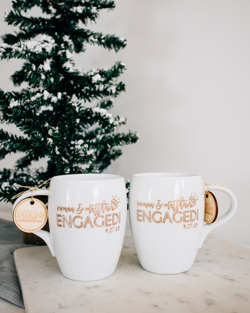 Happily Engaged Custom Coffee Mugs, Engraved White Porcelain - Set of 2