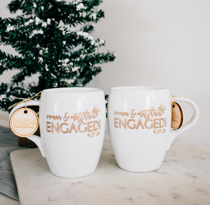 Custom Engaged Couple Coffee Mugs, Engraved White Porcelain - Set of 2