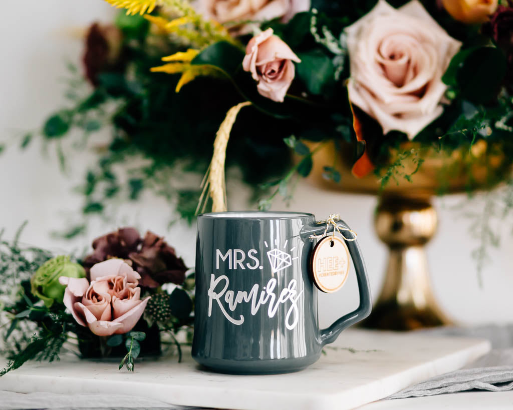 The New Mrs Custom Coffee Mug, Engraved Porcelain - Slate