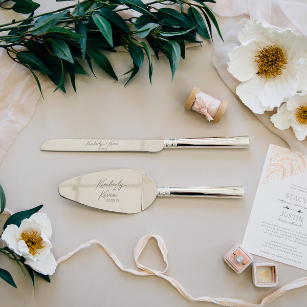 Vera Wang With Love Silver Wedding Cake Knife and Server Set