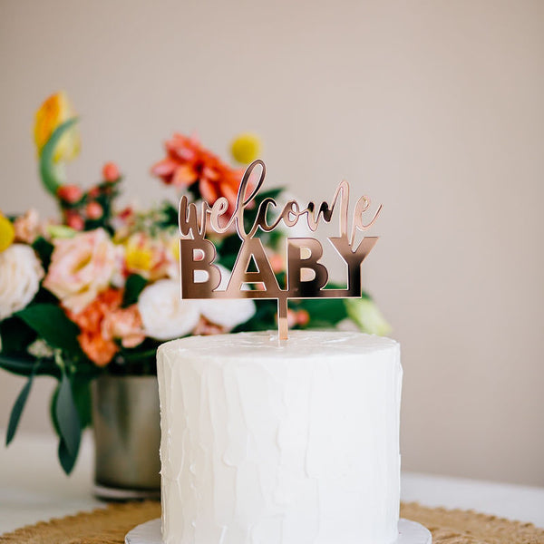 "5"" Welcome Baby Cake Topper - Blushing, Acrylic or Wood"
