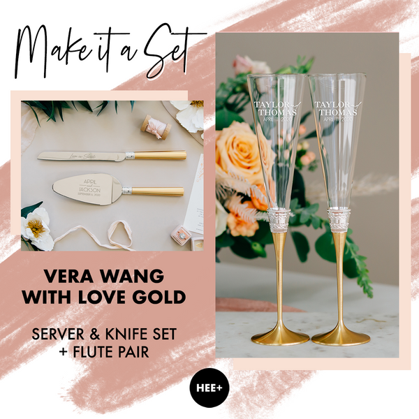 Vera Wang With Love Gold Toasting Flute & Cake Server Set Package
