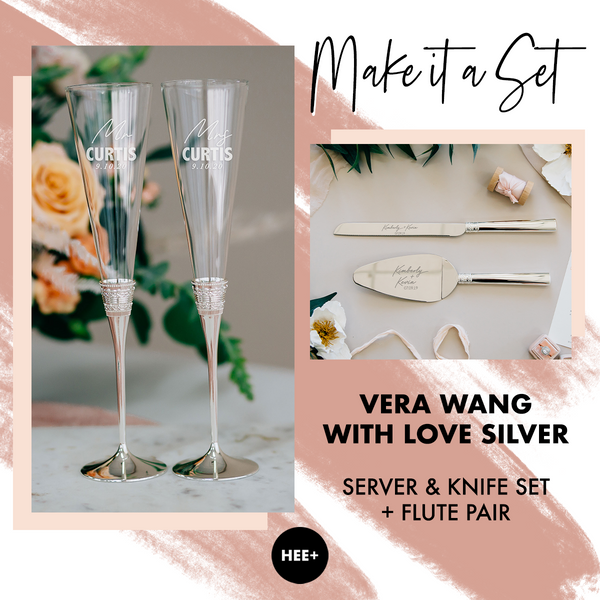 Vera Wang With Love Silver Toasting Flute & Cake Server Set Package