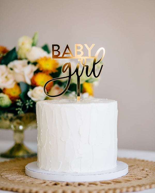 "5"" Baby Girl Cake Topper - Darling, Acrylic or Wood"
