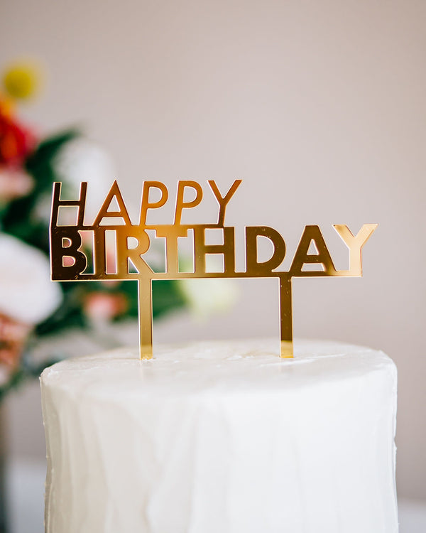 "6"" Happy Birthday Cake Topper - Bold, Acrylic or Wood"