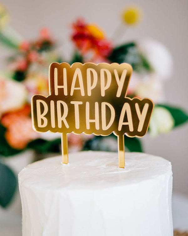 "5.5"" Happy Birthday Engraved Cake Topper - Peachy, Acrylic or Wood"
