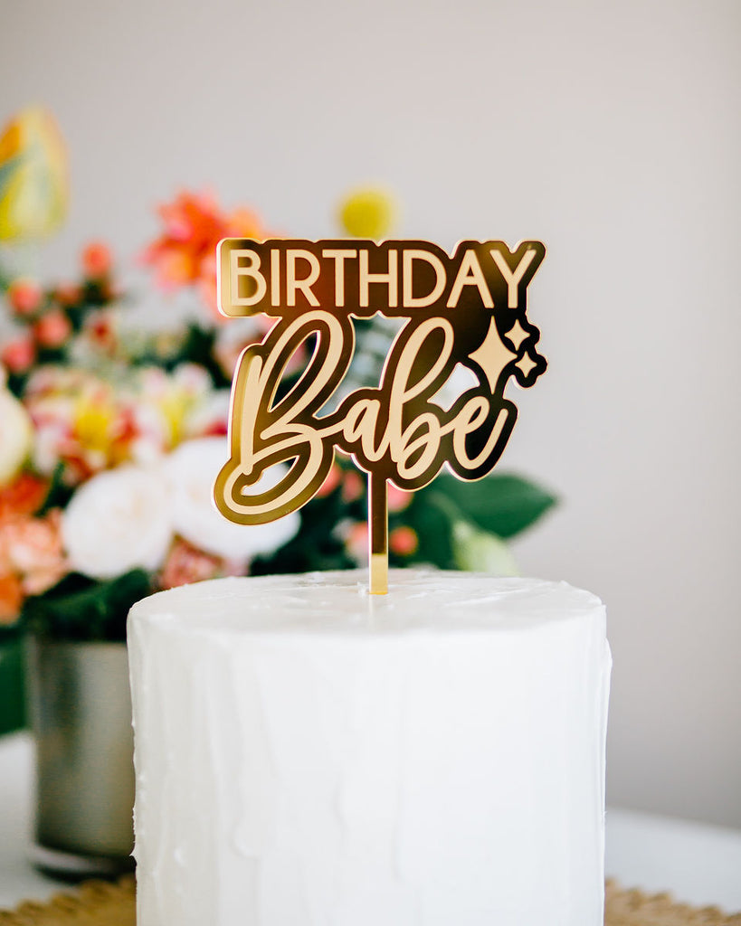 "4.5"" Birthday Babe Engraved Cake Topper, Acrylic or Wood"