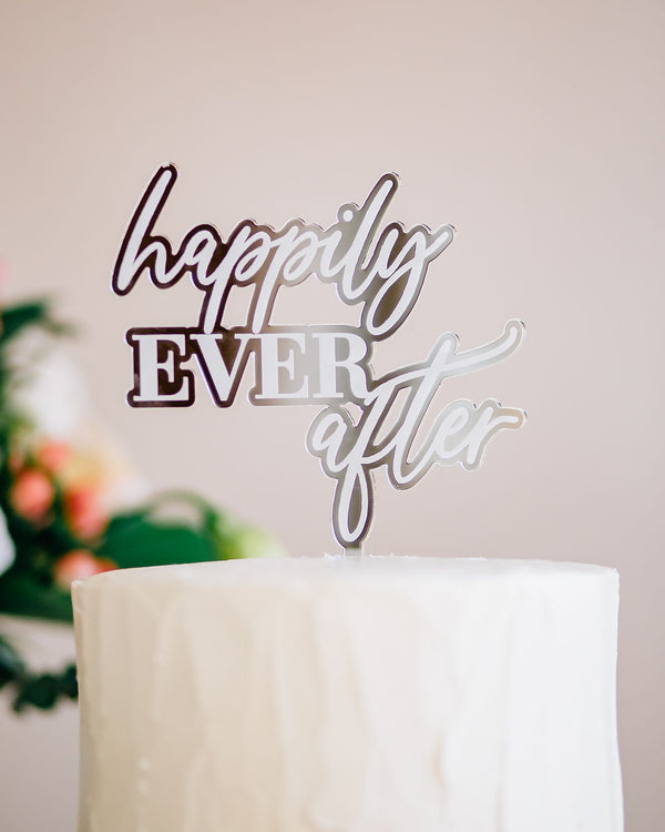 "5""  Happily Ever After Engraved Wedding Cake Topper, Acrylic or Wood"