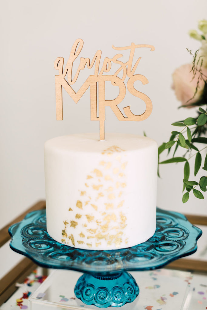 5 Almost Mrs Cake Topper Wood