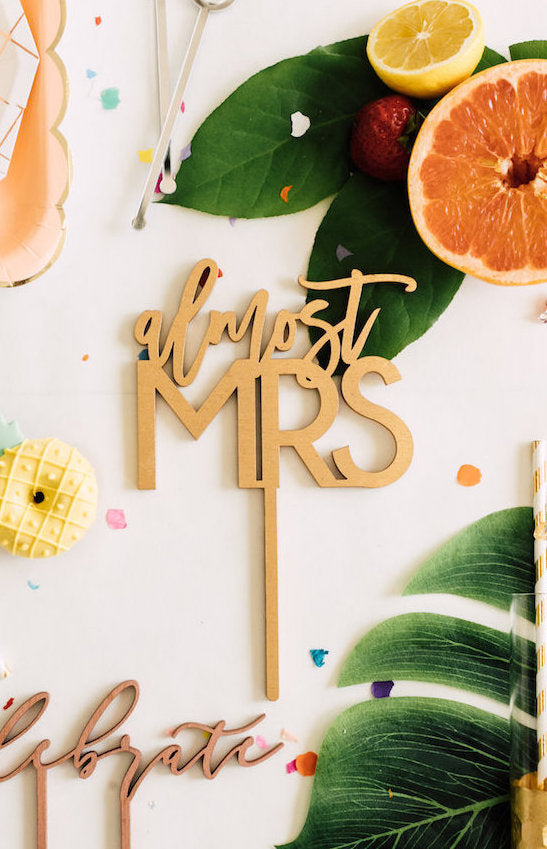 "5"" Almost Mrs Cake Topper, Wood"