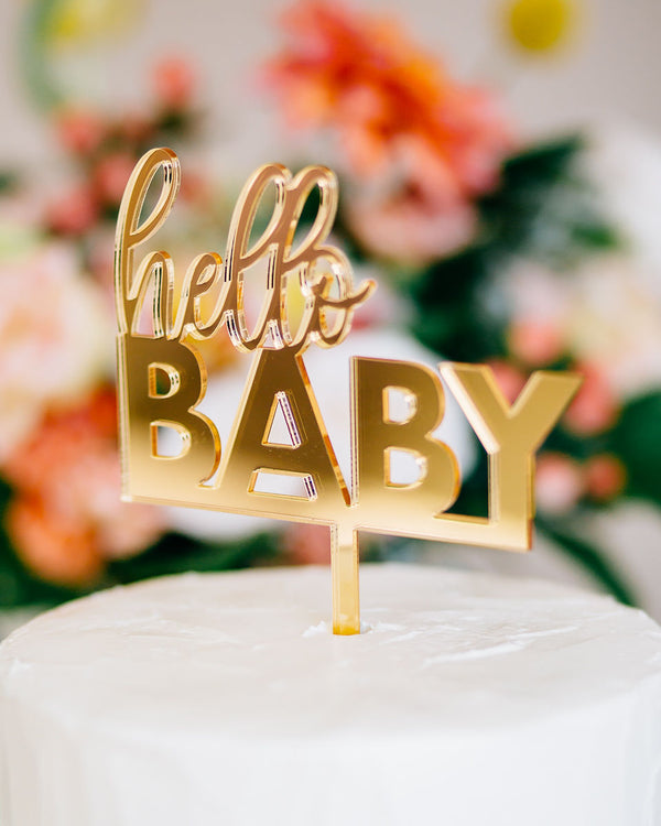 "5"" Hello Baby Cake Topper - Darling, Acrylic or Wood"