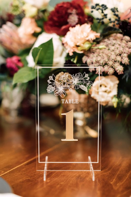 Floral Acrylic Table Number, Vertical