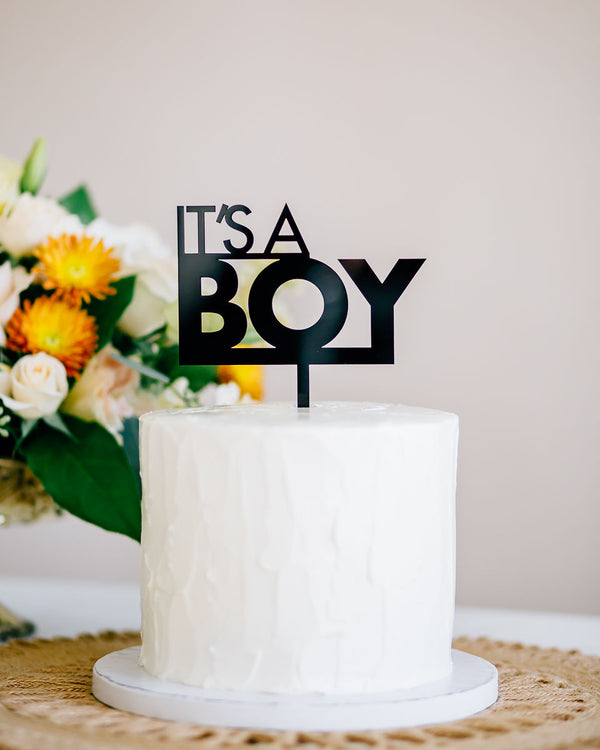 "5"" Its a Boy Baby Shower Cake Topper, Acrylic or Wood"