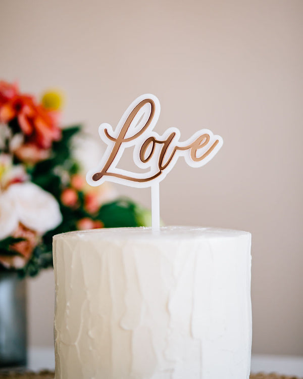 "4.5"" Love Wedding Cake Topper, Double Layer, Acrylic or Wood"