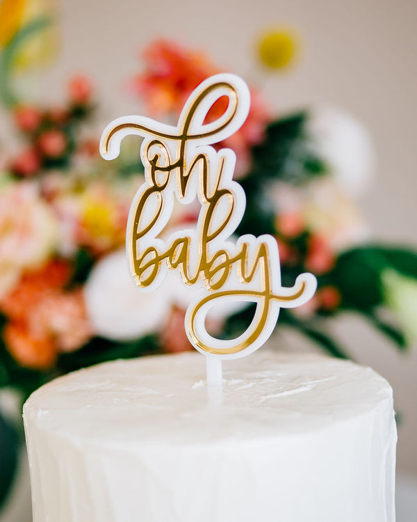 "4"" Oh Baby Cake Topper, Double Layer, Acrylic or Wood"