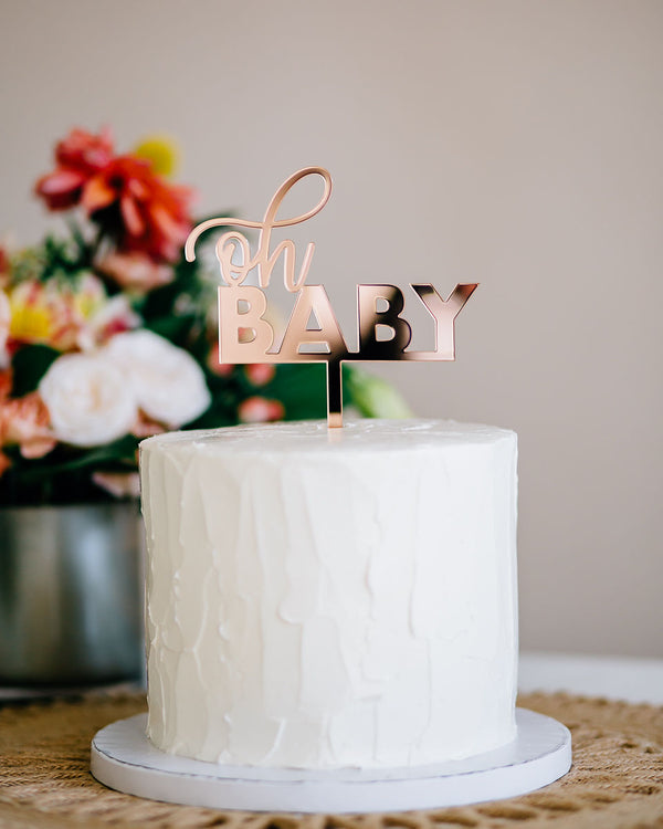 "5"" Oh Baby Cake Topper - Darling, Acrylic or Wood"