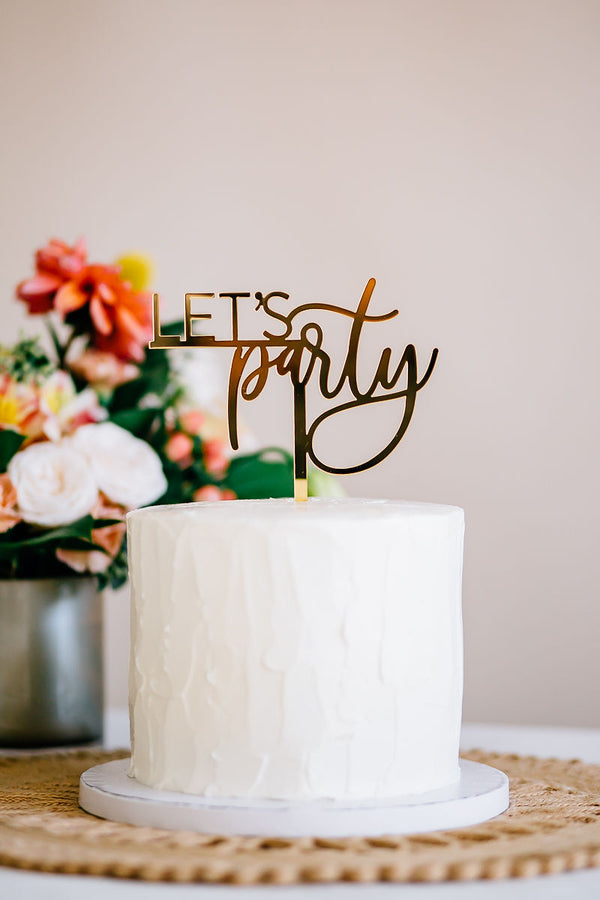 "5.5"" Let's Party Cake Topper - Darling, Acrylic or Wood"