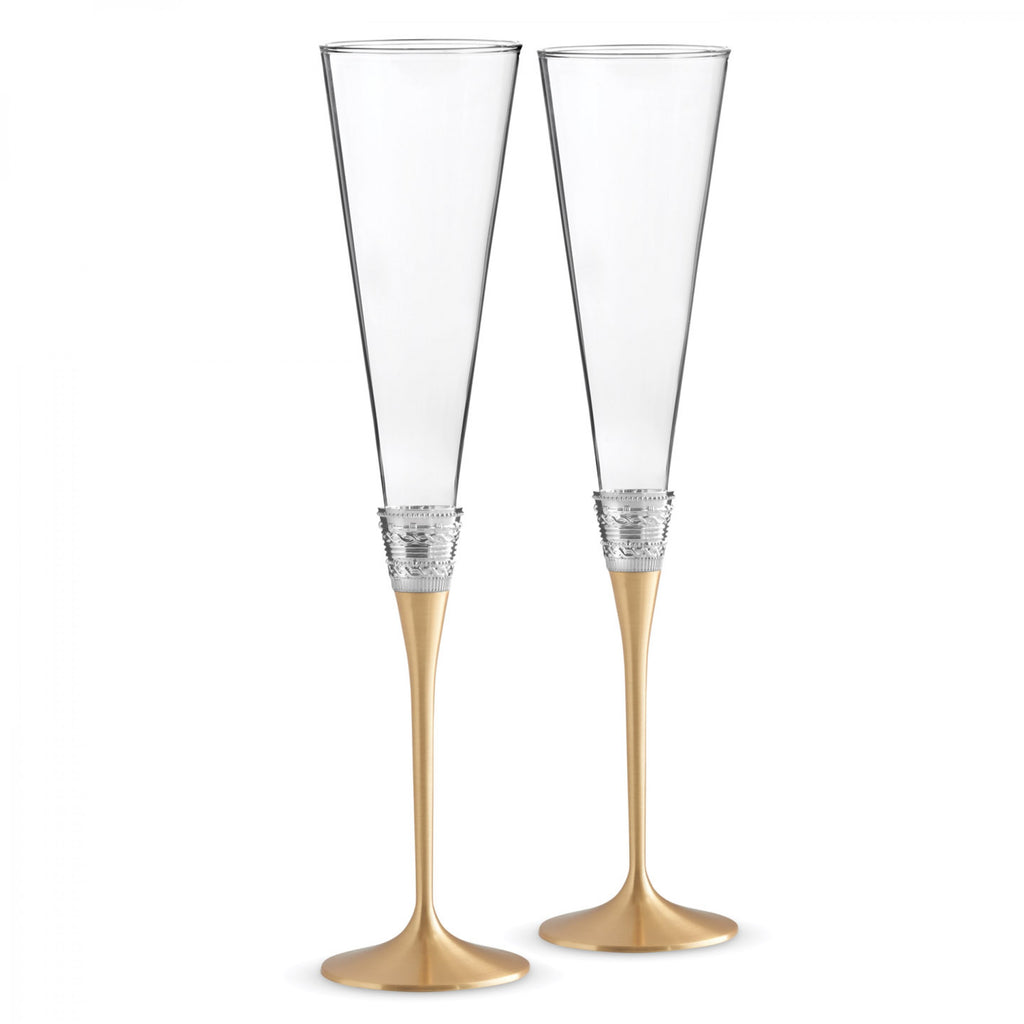 Wedgwood Vera Wang With Love Gold Toasting Flute Pair