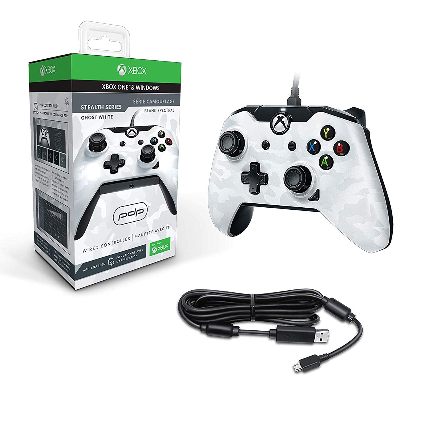 PDP Wired Controller for Xbox One - White Camo