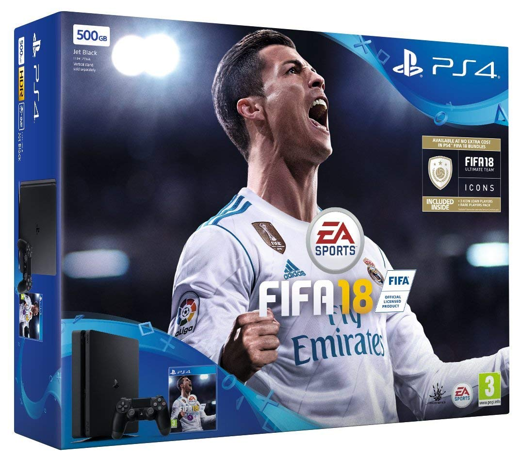 Sony PlayStation 4 500GB Console - Black - FIFA 18 Bundle with FIFA 18 Ultimate Team Icons and Rare Player Pack Pre-Owned