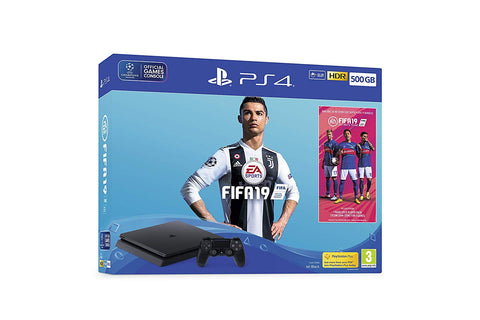 Sony PlayStation 4 500GB Console (Black) with FIFA 19 Ultimate Team Icons and Rare Player Pack Bundle New