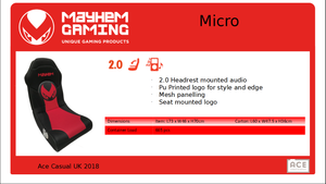 Mayhem Micro 2.0, Gaming Chair, DVDMEGASTORE, DVDMEGASTORE