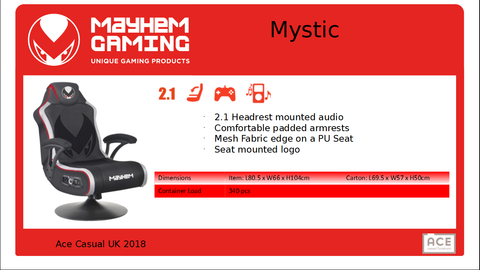 Mayhem Mystic 2.1, Gaming Chair, DVDMEGASTORE, DVDMEGASTORE