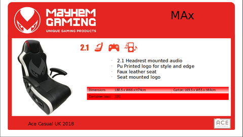 Mayhem MAx 2.1, Gaming Chair, DVDMEGASTORE, DVDMEGASTORE