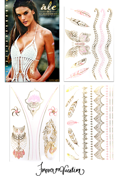 Forever On Vacation | Gold Metallic and Dusty Rose Tattoo Collection