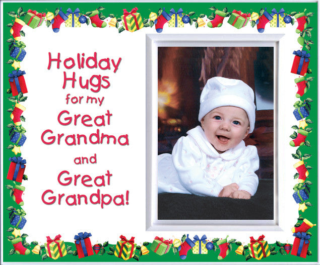 Holiday Hugs for Great Grandma & Great Grandpa Christmas Picture ...
