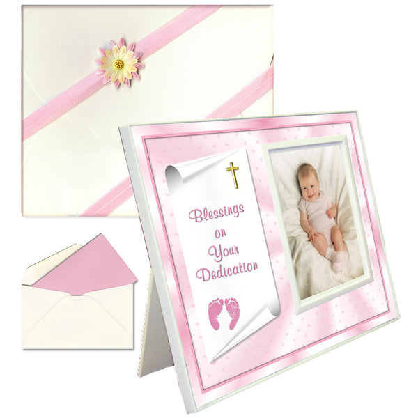 "Baby Blessing Dedication Picture Frame Gift ""Blessings on Your Dedication"" - Girl"